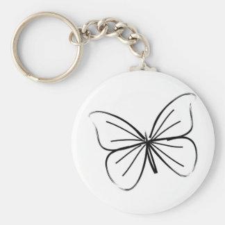 Dibujo lineal de la mariposa simple llavero redondo tipo pin