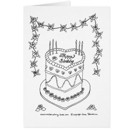 Dibujo lineal de la torta de Bithday del corazón Felicitacion
