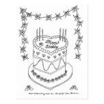 Dibujo lineal de la torta de Bithday del corazón Postal
