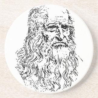 Dibujo lineal de Leonardo da Vinci Posavasos De Arenisca