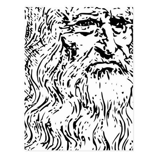 Dibujo lineal de Leonardo da Vinci Postal