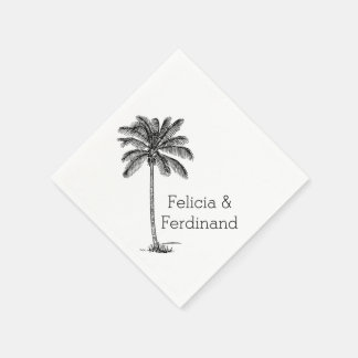 Dibujo lineal de palmera del coco servilleta de papel