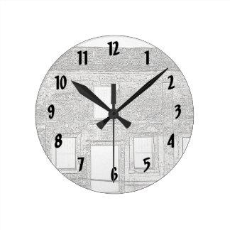 Dibujo lineal de Windows del fuerte de St Reloj Redondo Mediano
