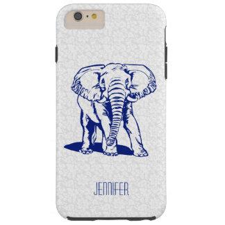 Dibujo lineal del elefante lindo de los azules funda de iPhone 6 plus tough