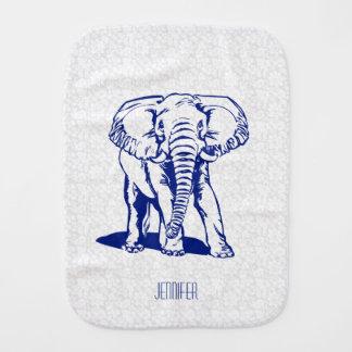 Dibujo lineal del elefante lindo de los azules paños para bebé