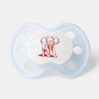 Dibujo lineal del elefante rojo oscuro lindo chupete de bebé
