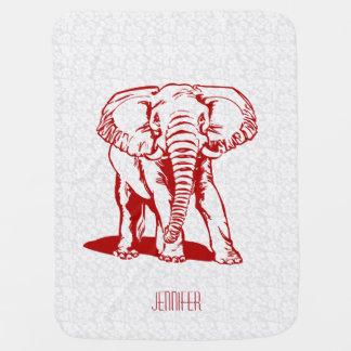 Dibujo lineal del elefante rojo oscuro lindo de mantitas para bebé