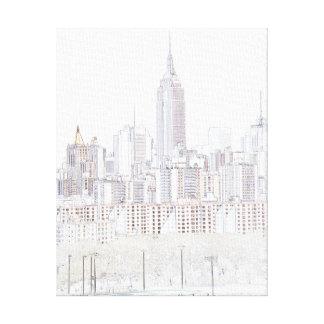 Dibujo lineal del Empire State Building Impresiones En Lona
