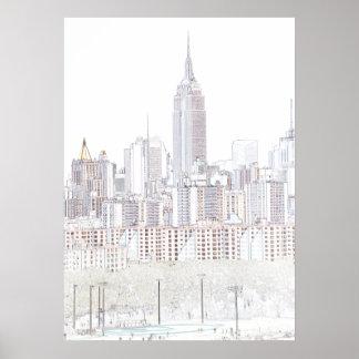 Dibujo lineal del Empire State Building Póster