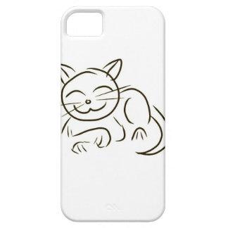 Dibujo lineal del gatito iPhone 5 fundas