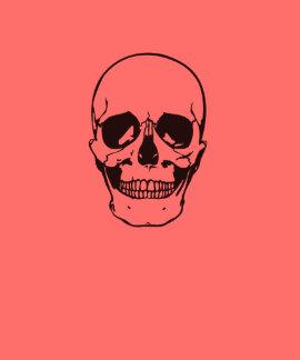 Dibujo lineal del negro del cráneo de Halloween Camisetas