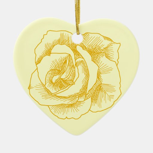 Dibujo lineal del rosa amarillo adorno de cerámica en forma de corazón