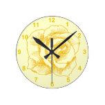 Dibujo lineal del rosa amarillo reloj
