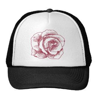 Dibujo lineal del rosa rojo gorras