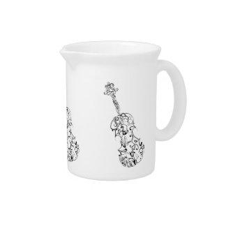 Dibujo lineal del violín de la desnatadora jarra para bebida