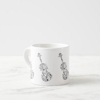 Dibujo lineal del violín del café express tazita espresso