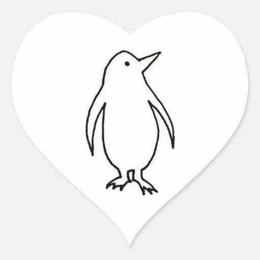 Dibujo lineal original del arte del pingüino pegatina en forma de corazón