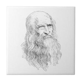 Dibujo lineal sabio del viejo hombre azulejo cuadrado pequeño