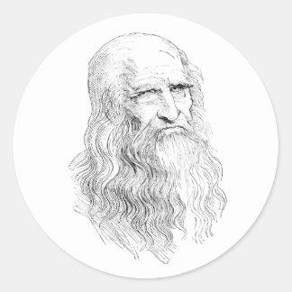 Dibujo lineal sabio del viejo hombre pegatina redonda