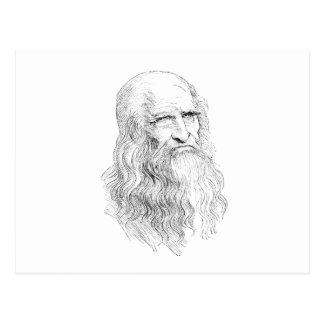 Dibujo lineal sabio del viejo hombre postal