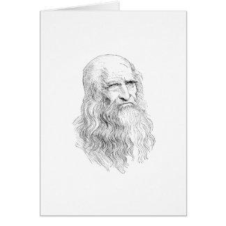 Dibujo lineal sabio del viejo hombre tarjeta de felicitación