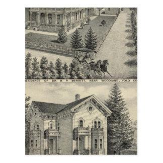 Dibujo litografiado residencias del arbolado postal