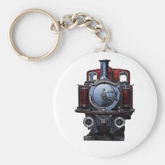Dibujo locomotor del tren azul y rojo del vintage llavero