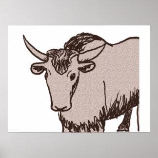 Dibujo, marrón y piedra arenisca del dibujo animad póster