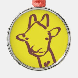 dibujo minimalista de la jirafa adorno navideño redondo de metal