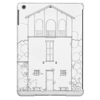 Dibujo minúsculo de la tinta de la casa funda para iPad air