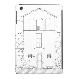 Dibujo minúsculo de la tinta de la casa funda para iPad mini retina