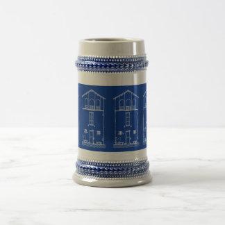 Dibujo minúsculo del modelo de la casa jarra de cerveza