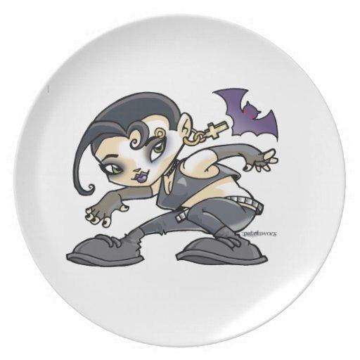 dibujo muchacha gothic plato de comida