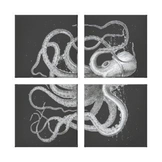 Dibujo náutico de Kraken del vintage del pulpo de  Impresiones En Lona Estiradas