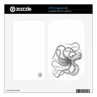 Dibujo náutico del libro del vintage del pulpo del calcomanías para HTC inspire 4G