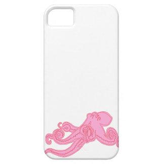 Dibujo náutico del pulpo del kawaii rosado del iPhone 5 fundas