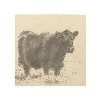 dibujo negro de la vaca en la madera impresiones en madera
