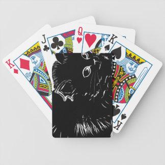 Dibujo negro lindo del gatito cartas de juego