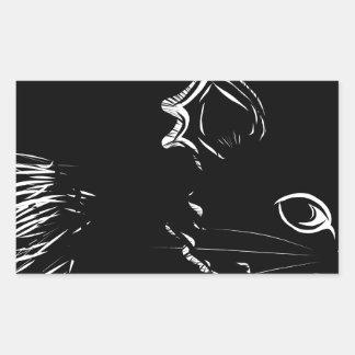 Dibujo negro lindo del gatito pegatina rectangular