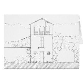 Dibujo negro y blanco de la casa minúscula de la tarjeta de felicitación