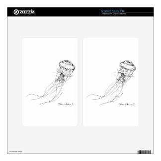 Dibujo negro y blanco de las medusas kindle fire skins