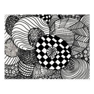 Dibujo negro y blanco del Doodle del zen Tarjeta Postal