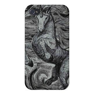 Dibujo negro y blanco del unicornio negro de los iPhone 4/4S fundas