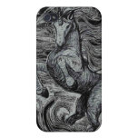 Dibujo negro y blanco del unicornio negro de los u iPhone 4 protectores