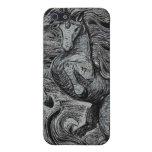 Dibujo negro y blanco del unicornio negro de los u iPhone 5 cárcasas