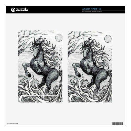 Dibujo negro y blanco del unicornio negro de los u pegatina skin para kindle fire