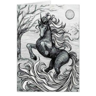 Dibujo negro y blanco del unicornio negro de los u tarjeta de felicitación