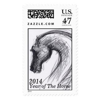 Dibujo original - caballo - año 2014 del caballo estampilla