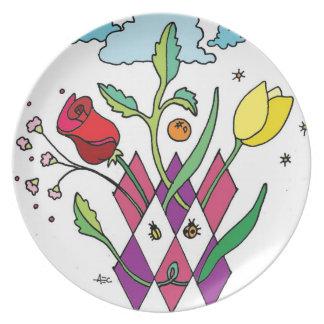 Dibujo original de la placa de la fiesta de jardín plato de comida