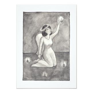 """Dibujo original único hermoso del arte del ángel invitación 5"""" x 7"""""""